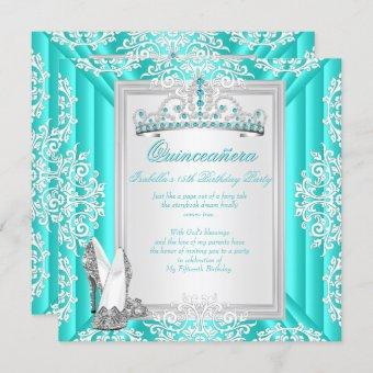 Quinceanera 15th Birthday Party Teal Blue Invitation
