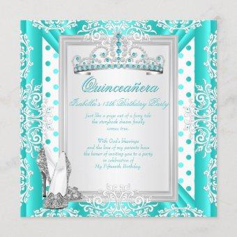 Quinceanera 15th Birthday Party Teal Blue Spots Invitation