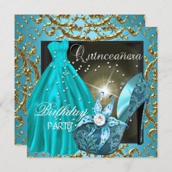 quinceanera 15th Birthday Party Teal Dress Gown Invitation