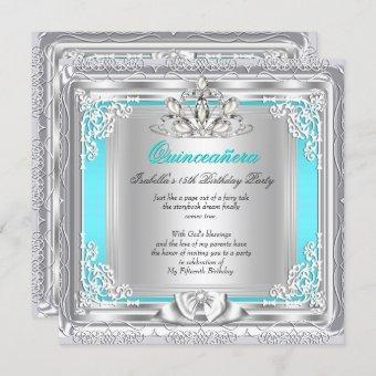Quinceanera 15th Birthday Party Teal Silver Invitation