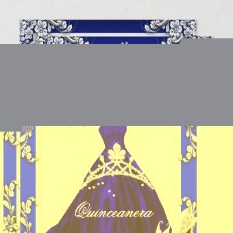 Quinceanera 15th Birthday Royal Blue Dress Gown Invitation