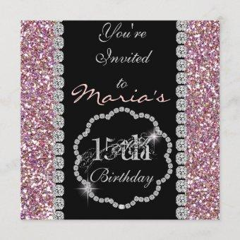 QUINCEANERA 15th BLING Birthday Invitations