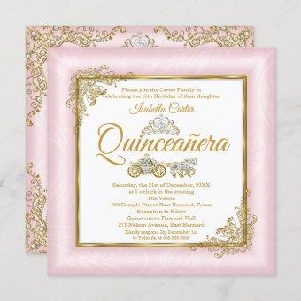 Quinceanera 15th Blush Pink Photo Carriage Invitation