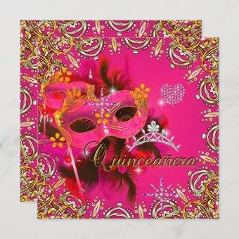 Quinceanera 15th Coral Pink Masquerade Party Gold Invitation