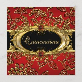 Quinceanera 15th Damask Red Gold Black Invitation