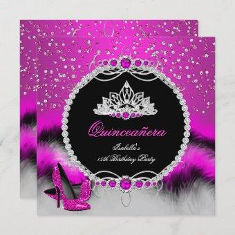 Quinceanera 15th Feather Hot Pink Glamour Heels Invitation