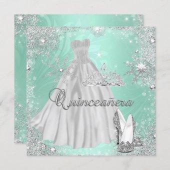 Quinceanera 15th Mint Silver Birthday Party Invitation