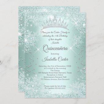 Quinceanera 15th Mint Teal Snowflake Winter Invitation