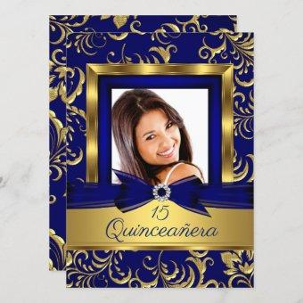 Quinceanera 15th Navy Blue Gold Floral Photo Invitation