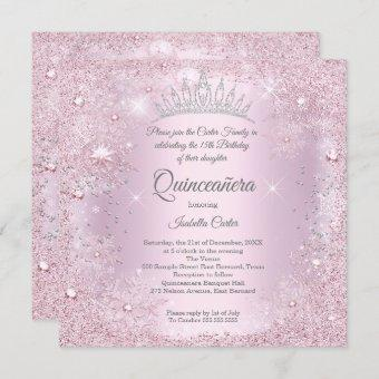Quinceanera 15th Party Blush Pink Snowflake Winter Invitation