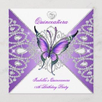 Quinceanera 15th Party Butterfly Purple Tiara 2 Invitation