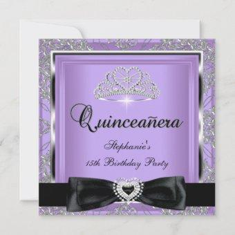 Quinceanera 15th Party Lilac Damask Silver Black Invitation