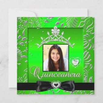 Quinceanera 15th Party Lime Green Silver Damask Invitation