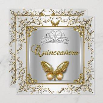 Quinceanera 15th Party Silver White Gold Butterfly Invitation
