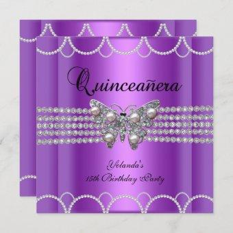 Quinceanera 15th Purple Butterfly Pearl Lace Invitation