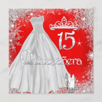 Quinceanera 15th Red Silver Snowflakes Party Invitation