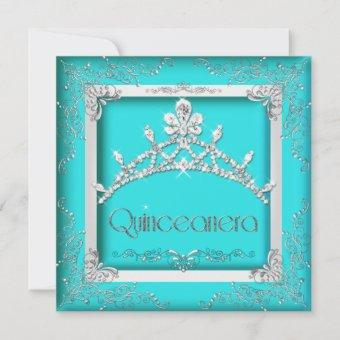 Quinceanera 15th Turquoise Silver Tiara 15 Party Invitation