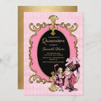 Quinceanera Alice In Wonderland Pink Gold Party In Invitation