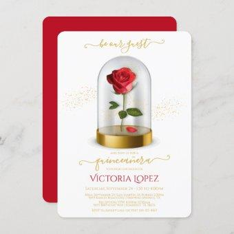 Quinceañera Beauty and the Beast Quinceanera Rose Invitation