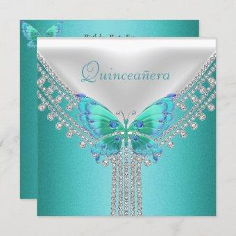 Quinceañera Birthday Party Blue White Butterfly Invitation