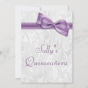 Quinceañera Birthday Party Damask and Faux Bow Invitation