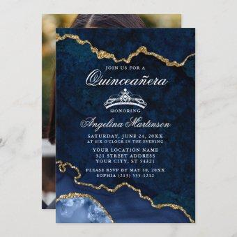 Quinceanera Blue Gold Marble Agate Geode Photo Invitation