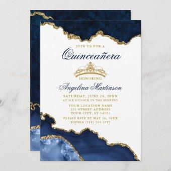 Quinceanera Blue Marble Gold Crown Invitation