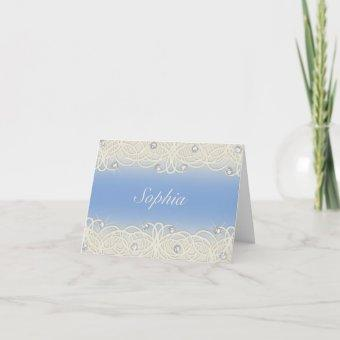 Quinceanera Blue Sparkle and Lace Invitation