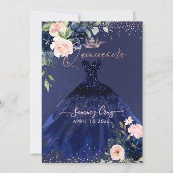 Quinceanera Blush Navy Blue Watercolor Flowers Inv Invitation