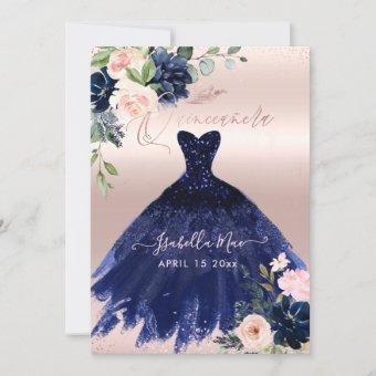 Quinceanera Blush Navy Blue Watercolor Flowers Invitation