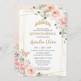 Quinceañera Blush Pink Rose Floral Butterfly Tiara Invitation