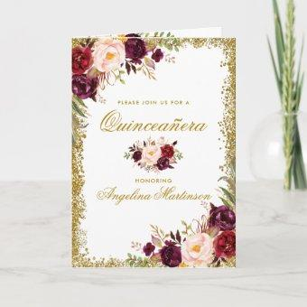 Quinceanera Burgundy Floral Photo Glitter Folded Card