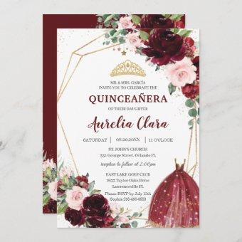 Quinceañera Burgundy Pink Floral Roses Ball Gown Invitation