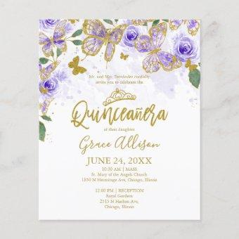 Quinceanera Butterfly Budget Invitation Bilingual
