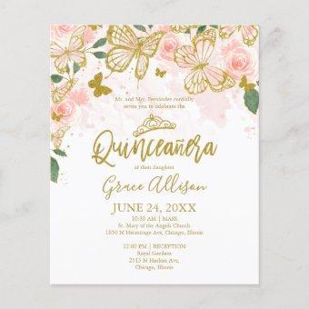 Quinceanera Butterfly Budget Invitation English