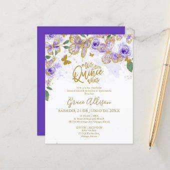 Quinceanera Butterfly Budget Invitation Spanish