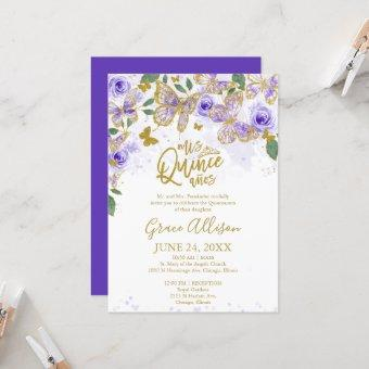 Quinceanera Butterfly Invitation English Wording