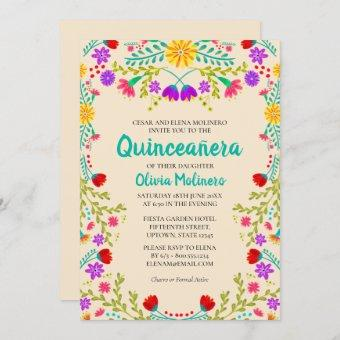 Quinceanera Champagne Mexican Flowers Birthday Invitation