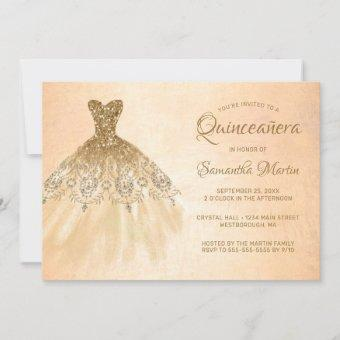Quinceanera Chic Gold Dress Coral Party Invitation