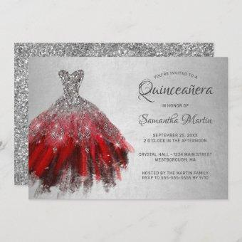 Quinceanera Chic Red Silver Dress Glitter Party Invitation
