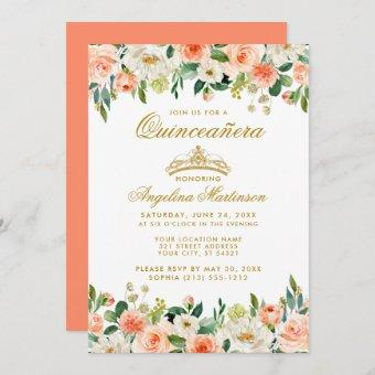 Quinceanera Coral Floral Gold Crown Invitation