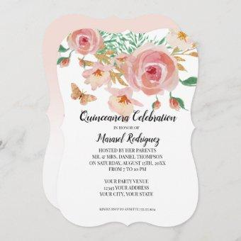 Quinceañera Coral n Pink Rose Watercolor Butterfly Invitation
