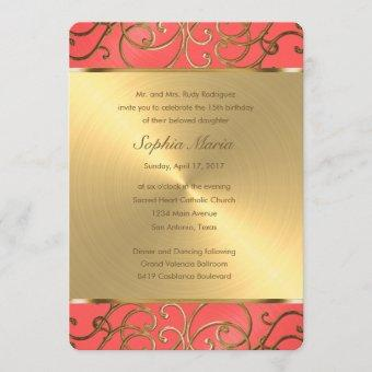 Quinceanera Coral Pink and Gold Filigree Swirls Invitation
