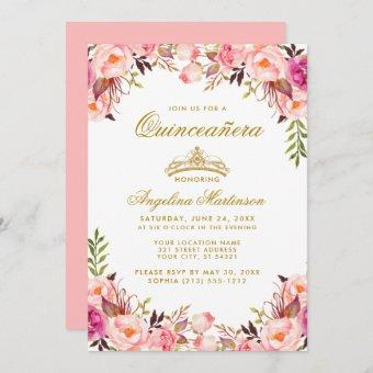 Quinceanera Crown Pink Blush Floral Gold Invitation