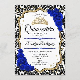 Quinceanera - Damask Royal Blue Gold Invitation