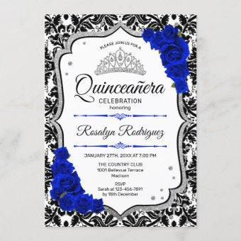 Quinceanera - Damask Royal Blue Silver Invitation