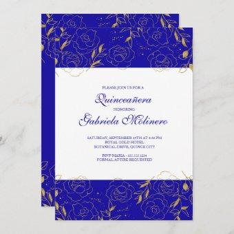 Quinceanera Elegant Royal Blue and Gold Floral Invitation