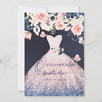 Quinceanera Floral Blush Glitter Gown Blue Navy Invitation