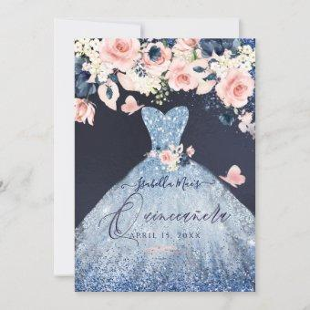 Quinceanera Floral Dusty Blue Glitter Gown Invitation