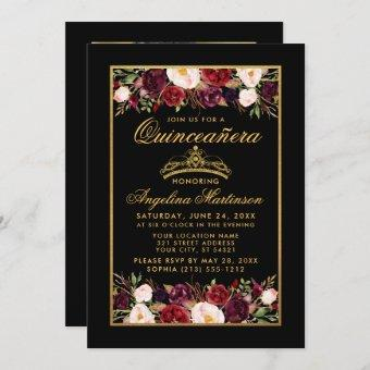 Quinceanera Floral Photo Gold Frame Crown Black Invitation